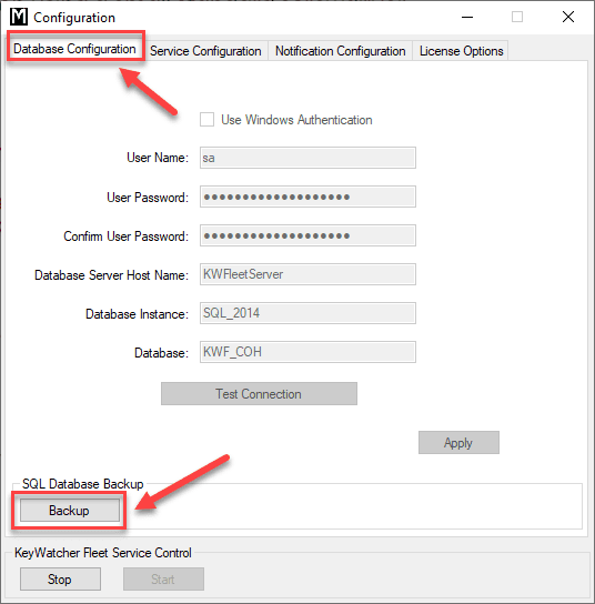 KeyWatcher Fleet Configuration Utility Backup Window